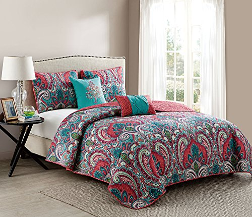 VCNY Home Casa Re'al Damask Reversible 4 Piece Comforter Set, Purple Twin XL, Multi