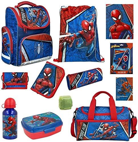 Familando Schulranzen-Set Marvel Spiderman 16 TLG. mit Federmappe, Dose, Flasche, großer Sporttasche und Regenschutz