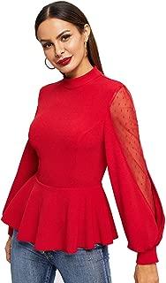 Women's Solid Mesh Long Sleeve Elegant Work Ruffle Hem Peplum Top