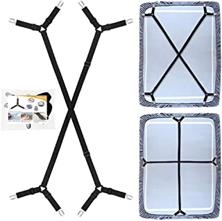 QoeCycth Bed Sheet Holder Straps, 2Pcs Adjustable Crisscross Fitted Sheet Band Straps Grippers Suspenders, Triangle Elasti...