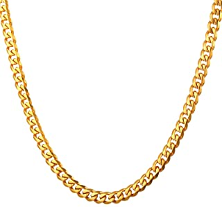 3-12MM Hip Hop Necklace for Men Stainless Steel Chain Men Curb Chain Vintage Chain Necklace Gold Chain 18-30Inch