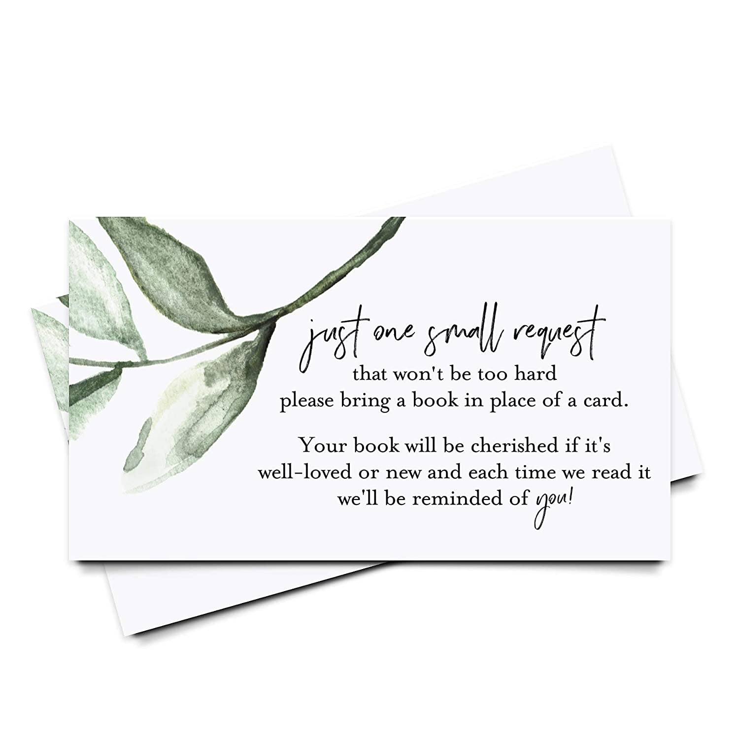 Bliss Collections Book Request Cards for Baby Shower for Girls, Pack of 50 Greenery Themed Books for Baby Cards to Match Your Diaper Raffle Cards, 2 x 3.5 Heavyweight Card Stock, Made in the USA