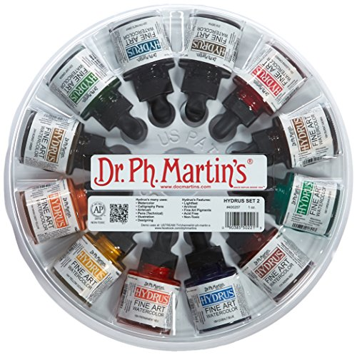 Dr. Ph. Martin's Hydrus Fine Art Watercolor, 1 Ounce (Pack of 10), Set 2 Colors 12 Ounce
