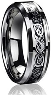 Ring for Men and Ring for Women 6mm Tungsten Carbide Celtic Knot Dragon Black Carbon Fiber Inlay Engagement Wedding Band Ring for Men & Women