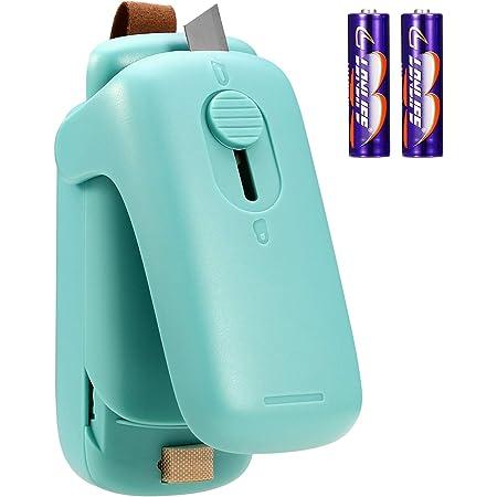 ORIA Mini sellador de bolsas, 2 en 1 sellador de calor de mano y cortador, máquina de reselladora portátil para almacenamiento de alimentos y resellado de bolsas de aperitivos