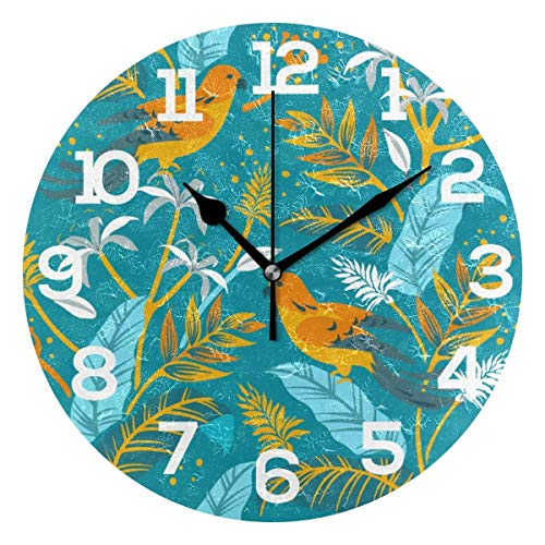 Bird Tropical Leaves Blue Background Round Wooden Wall Clock 12 inches for Home Decor Living Room Kitchen Bedroom Office School Best Gift