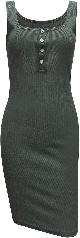 ManxiVoo Women's Sexy Button V Neck Slim fit Tank Dress Sleeveless Basic Ribbed Knit Midi Club Dresses