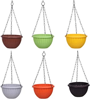 AASHU Hanging planters with Chain (Multicolor-Pack of 6)