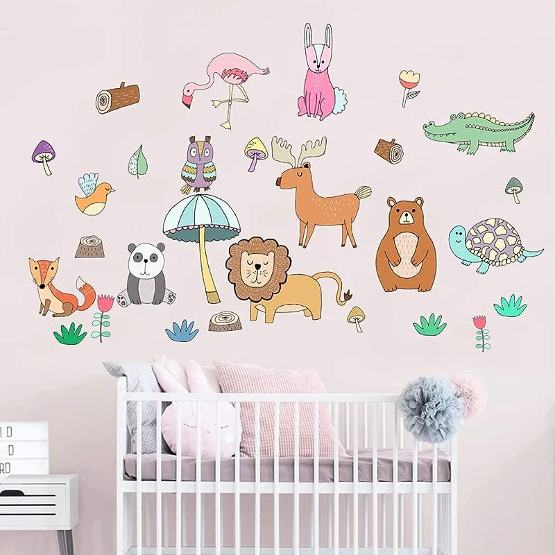 Cute Animals In The Jungle Adventure Peel Stick Wall Decals For Kids Boys Girls Baby Nursery Bedroom Bathroom Playroom Decor