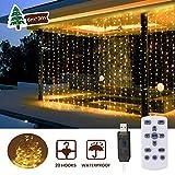 LED Lichtervorhang 3m x 3m,300 LEDs USB Lichterkettenvorhang Wasserfest mit Fernbedien 8 Modi Lichterkette Gardine für Party Schlafzimmer Innenbeleuchtung Weihnachten Außen/Innen Deko...