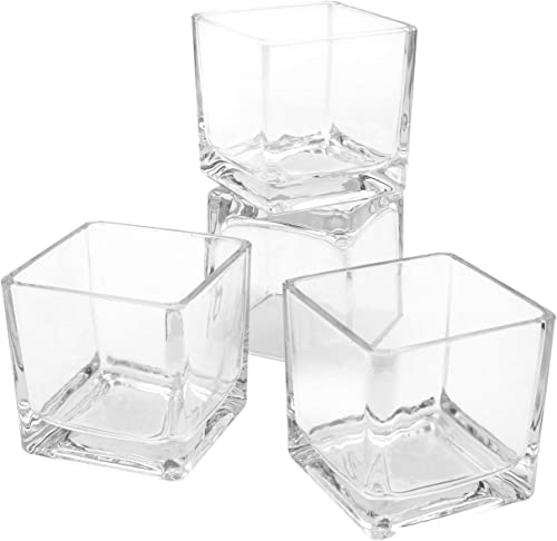 """Flower Glass Vase Decorative Centerpiece for Home or Wedding by Royal Imports - Clear Cube Shape, 2.5""""x2.5""""x2.5"""", Set of 12"""