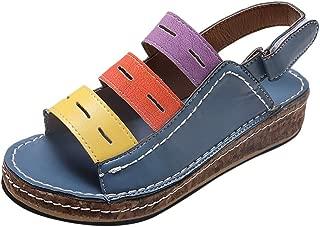 Platform Sandals for Women,ONLYTOP Women's Open Toe Ankle Strap Platform Wedge Sandals Tricolor Low Wedge Shoes