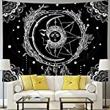 Moon and Sun Tapestry Psychedelic Bohemian Mandala Wall Tapestry Black and White Indian Hippy Celestial Tapestry Starry Dreamcatcher Tapestry Wall Hanging for Bedroom Living Room Dorm(W59.1' × H51.2')