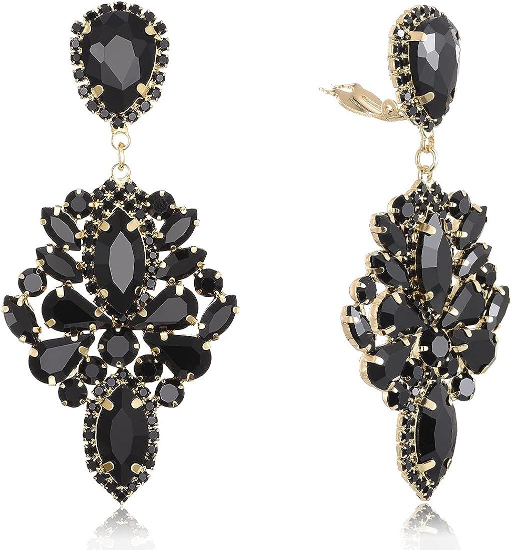 Crystal Chandelier Drop Earrings Oval Rhinestone Prom Evening Jewelry KELMALL COLLECTION