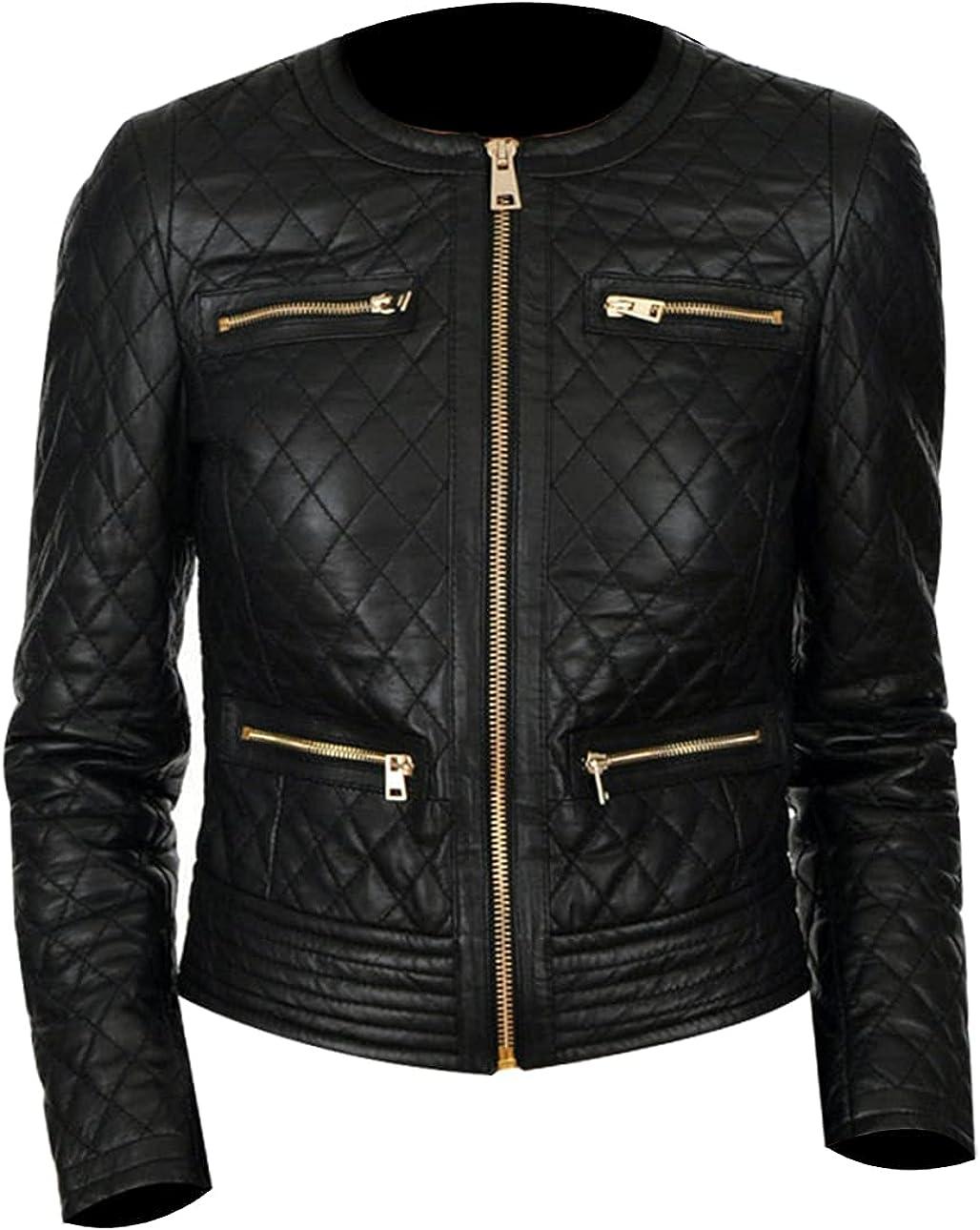 Womens Black Biker Quilted Leather Jacket - Ladies Short Motorcycle Jacket