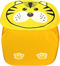 Home Runner Polyester Printed Foldable Square Laundry Basket - Storage Bags for Cloths,Toys, Small Things and More (35L, Yellow)