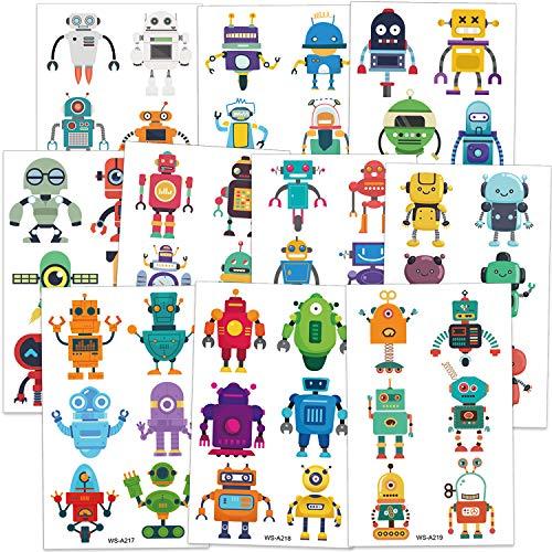 Qpout Robot tatuajes temporales para niños, tatuajes de robots niños niñas robot tema cumpleaños fiesta regalo bolsas relleno niños fiesta decoración regalo 60 piezas