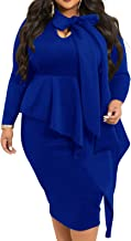 lexiart Plus Size Dress for Women - Sexy Loose Stretchy Plus Size Peplum Dresses with Bowknot