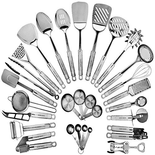HOME HERO Stainless Steel Kitchen Utensil Set - 29 Cooking Utensils - Nonstick Kitchen Utensils Cookware Set with Spatula - Best Kitchen Gadgets...