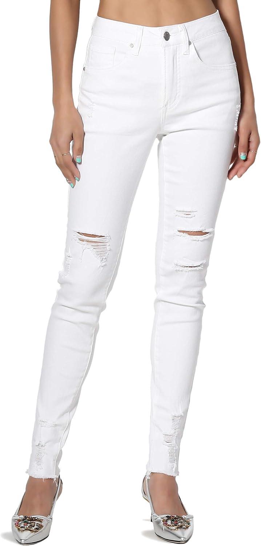 TheMogan Junior & Plus Vintage Distressed Washed Mid Rise Rip Hem Skinny Jeans