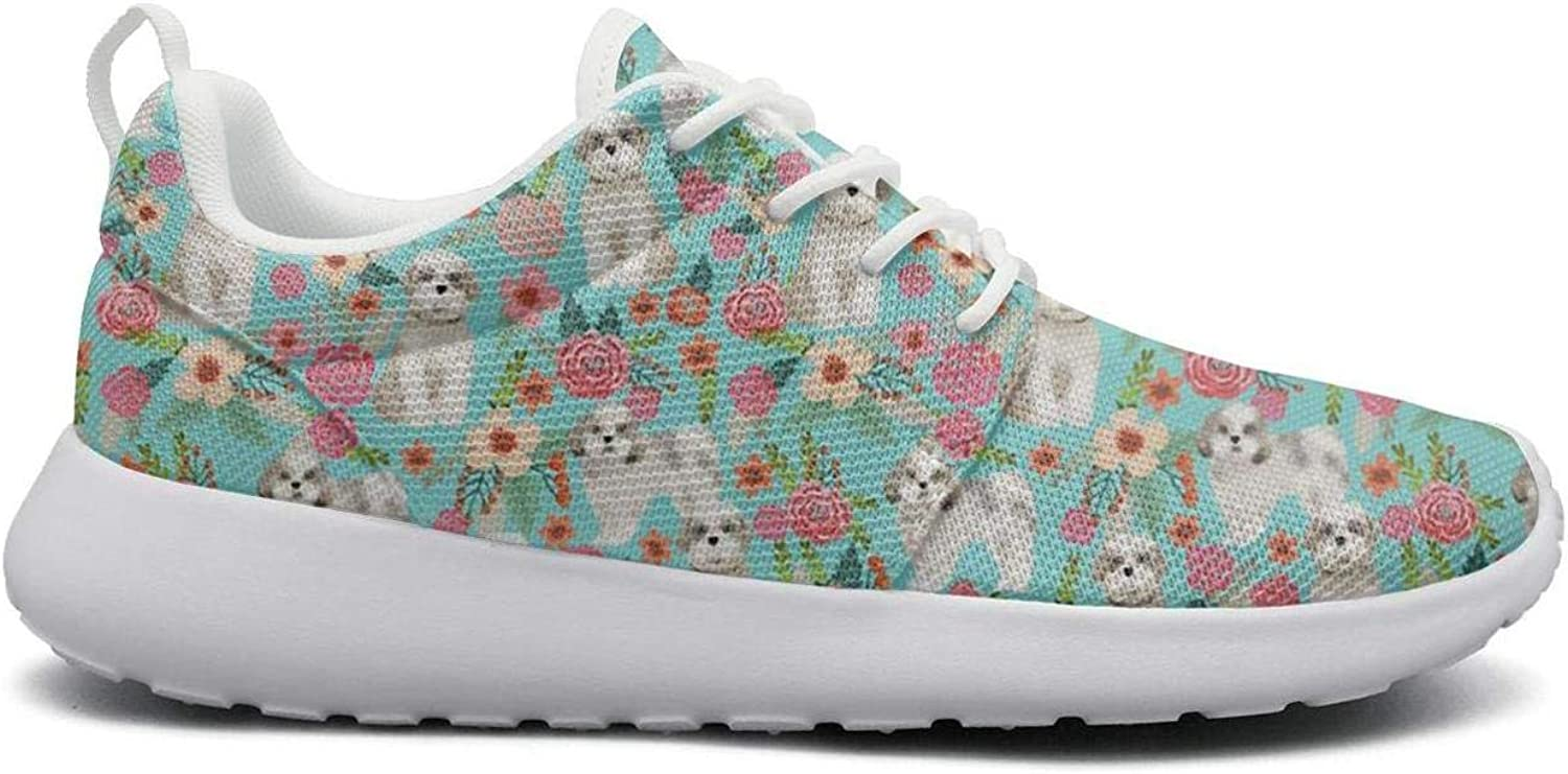 Cute Shih Tzu lap Dog Flowers Floral stylish Print women sports Running shoes Casual Lightweight Athletic Sneakers