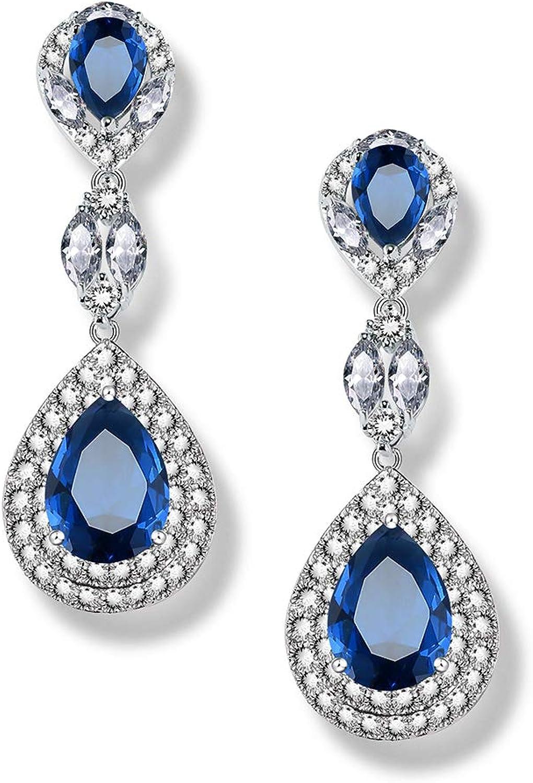 MEiySH Cubic Zirconia Teardrop Bridal Earrings-Austrian Crystal Bridal Jewelry for Wedding Prom Anniversary