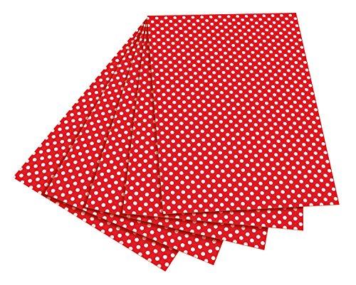 folia 5902 - Fotokarton rot mit weißen Punkten, 50 x 70 cm, 10 Bogen - beidseitig bedruckt - zum Basteln und kreativen Gestalten von Karten, Fensterbildern und für Scrapbooking