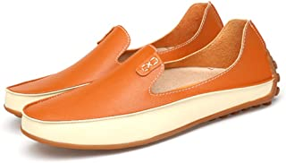 Termee Men Leather Loafers Driving Shoes Soft & Massage Outsole Slip-On Flats
