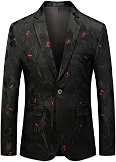 Men's Casual Vintage Turn-Down Collar Long Sleeve Print Floral Suit Coat Jacket