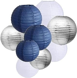9pcs Navy Blue Silver White Paper Lanterns 12