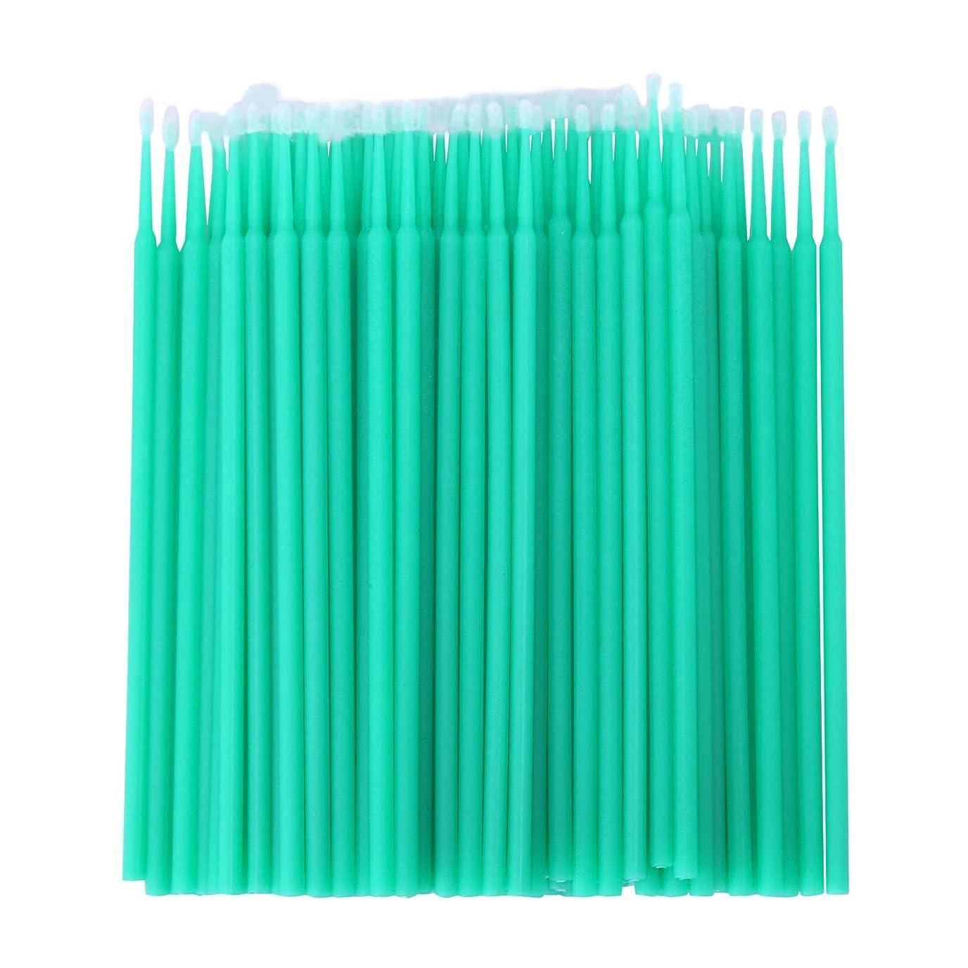 リングピアノ促すCUHAWUDBA 100個 歯科用マイクロブラシ 使い捨て材料 歯用アプリケーター ミディアムファイン(ライトグリーン)