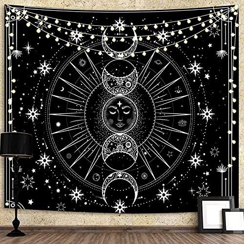 Tapiz para colgar en la pared, sol con estrellas, diseño psicodélico, blanco y negro, para dormitorio, sala de estar, dormitorio, decoración de pared (59,1 x 82,7 x 150 x 210 cm)
