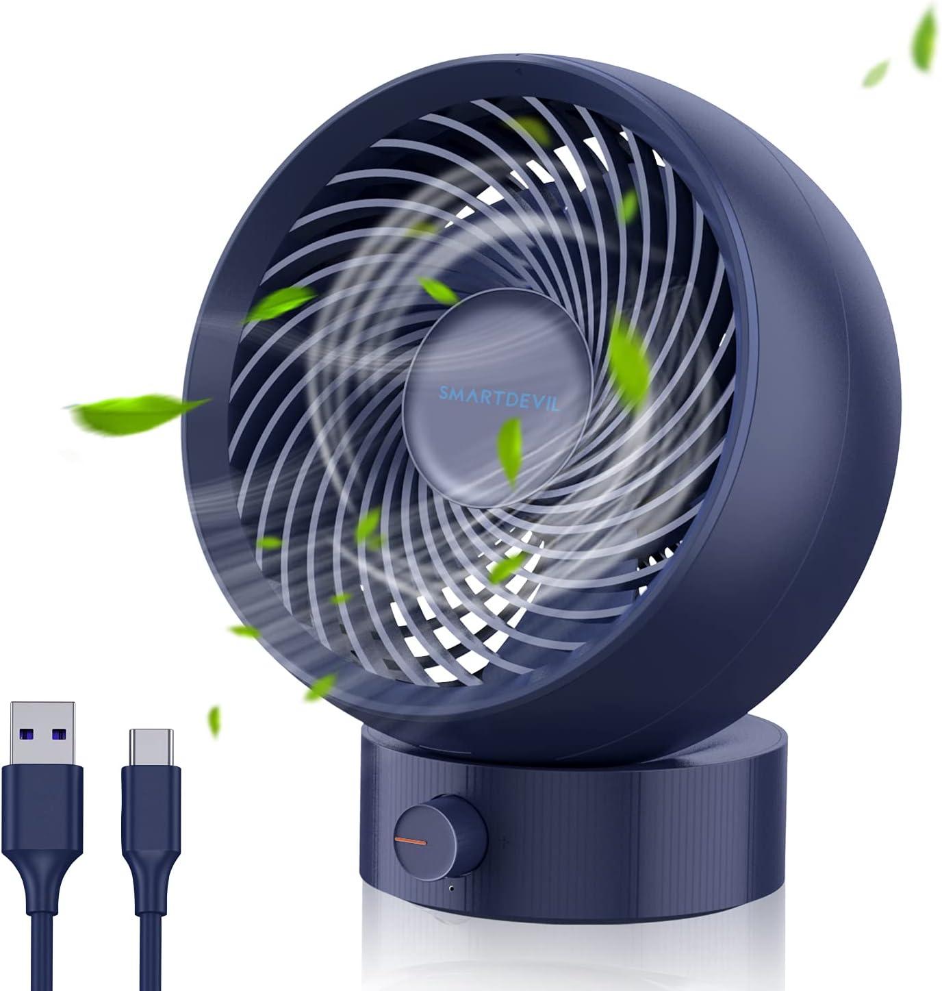 SmartDevil Ventilador Mesa,Ventilador USB Silencioso Portátil USB Ventilador de Escritorio portátil Mini,180° Velocidad Variable&Ángulo de rotación de 20°,Adecuado para el hogar,la Oficina-Azul