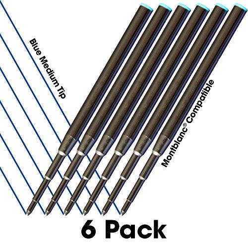 Jaymo - 6 – Reemplazo de recargas de tinta azul compatibles con Montblanc® bolígrafos. Escritura fluida tinta alemana y punta media 0,7mm Comparar con Montblanc Pacifico Azul 105151/116213/MB35094