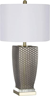 """Sagebrook Home 50148-01 Glass Dotted Table, White, 28.5"""" Lamps"""