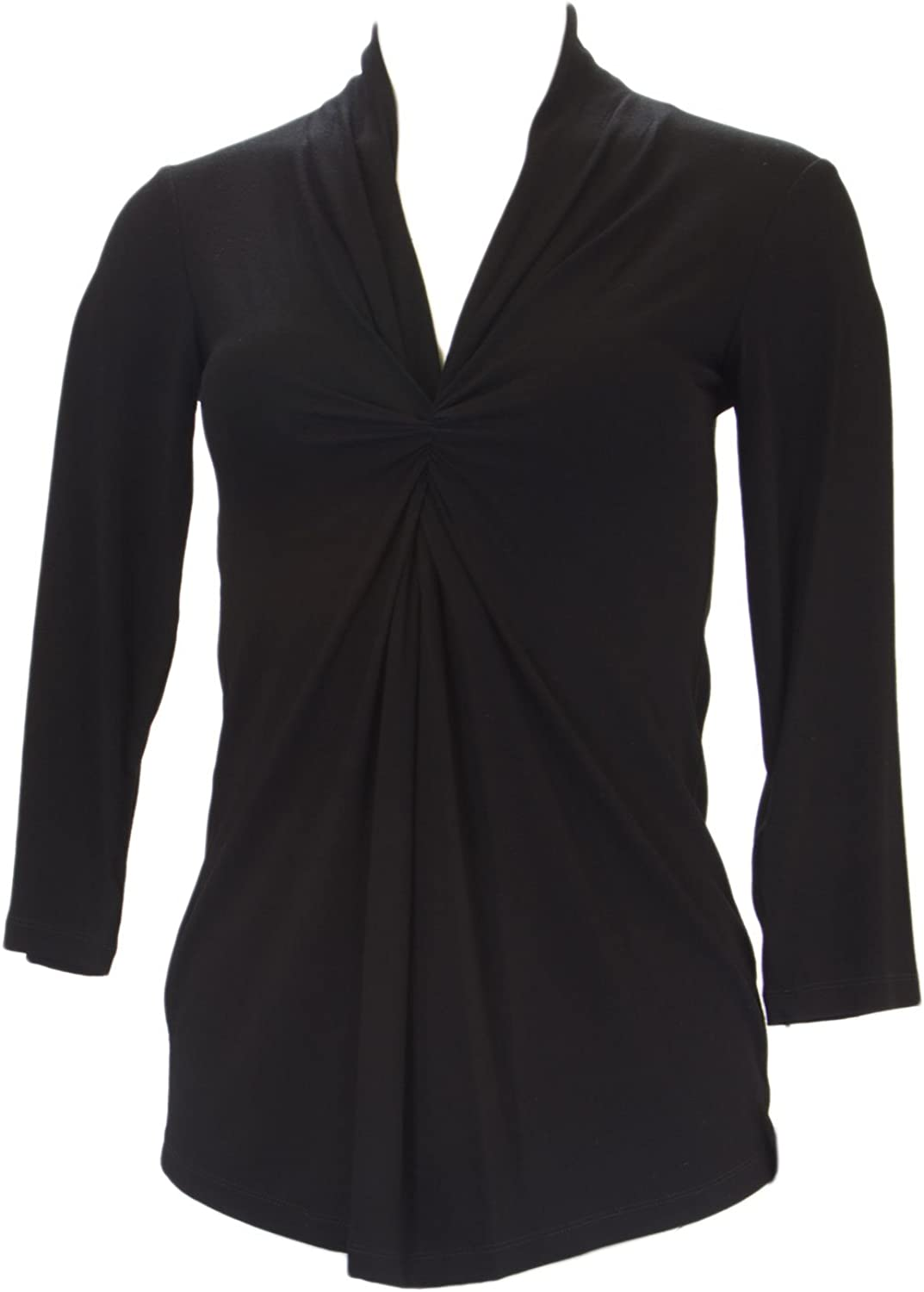 ANALILI Women's Black Front Twist Accent 3 4 Sleeve Top 422J10