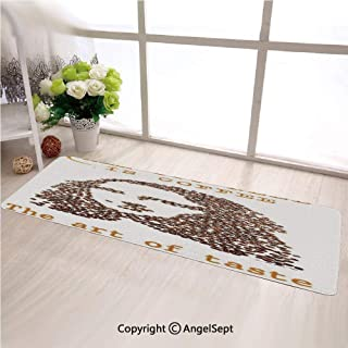 Custom Anti Slip Long Rectangle Mat,A Face of A Young Woman Arranged from Coffee Beans with Quotes Creative ArtBrown,Fashion Long Carpet Choose Your Width by Length