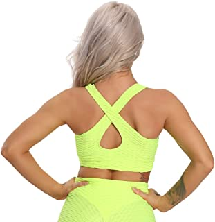 HWNGDI Women Yoga Sports Sexy Deep V Top Push Up Breathable Workout Bras Sportswear Female Athletic Gym Shirt Fitness Spor...