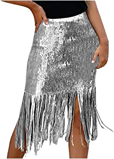 Time Sense Women Bodycon Sequin Tassel A-Line Skirt for Party Club Workwear Party