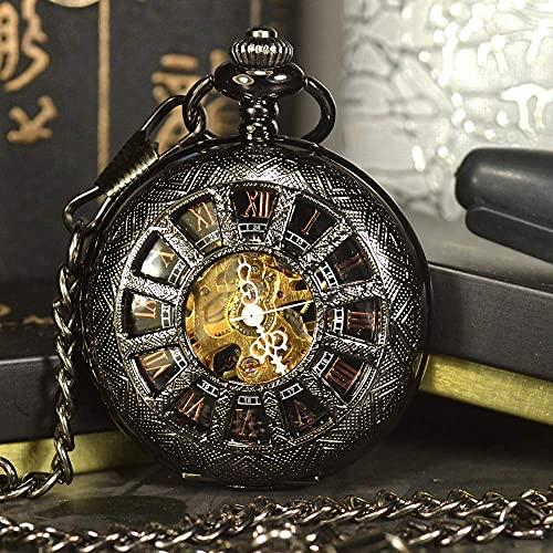 BWHTY Reloj de Bolsillo mecánico Esqueleto Steampunk Negro para Hombre, Collar de Marca de Lujo Antiguo, Reloj de Bolsillo y Cadena