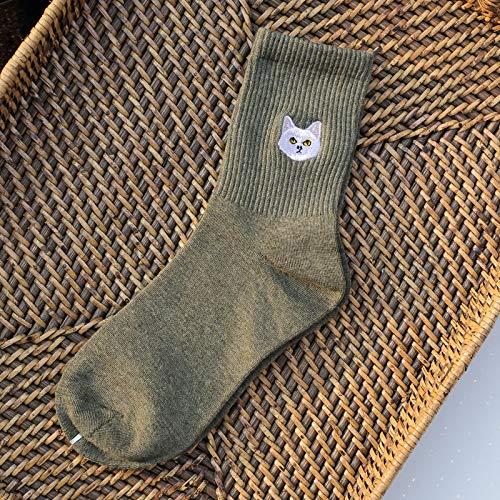 Calcetines De Invierno De Algodón para Mujer Calcetines De Mujer con Bordado De Cabeza De Animal De Dibujos Animados 1 Par/Paquete Tamaño 36-40 Animal-Verde
