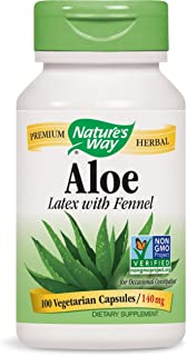 Natures Way Aloe Latex with Fennel 140 milligrams 100 Vegetarian Capsules. Pack of 4 bottles.