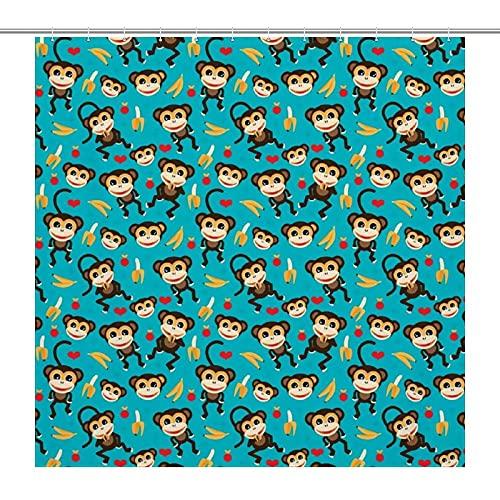 ZGPOJNDKI Cortina de baño resistente al agua de 180 x 180 cm, con ganchos, cortinas de ducha de poliéster lavables, para bañeras, inodoro, decoración del hogar, accesorios de baño, mono amor plátano