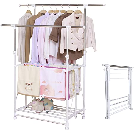arttranson 室内物干し 洗濯物干し 伸縮式 折りたたみ コンパクト ステンレス キャスター付き 耐荷重50kg ART-0330