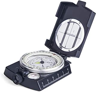 COSTIN Multifunctional Compass, Metal Military Waterproof High Accuracy Compass with Map Measurer, Distance Calculator,Bubble Level Perfect for Outdoor Activities, Matte Black