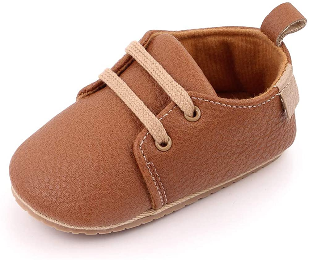 Enteer Infant Boys High-top Sneaker Brown Baby Shoes