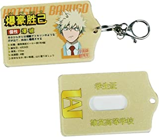WerNerk Anime My Hero Academia ID Card Badge Holder with Detachable Metal Clip and Key Ring Id Badge Clip Key Chain Holder Card Holder(Bakugou Katsuki)