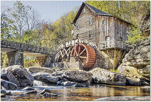 ACCYT HD West Virginia - Babcock State Park Alte Getreidemühle im Herbst verlassen mit Fluss 9018193 (52*38 cm Premium 500-teiliges Puzzle Made in USA!)