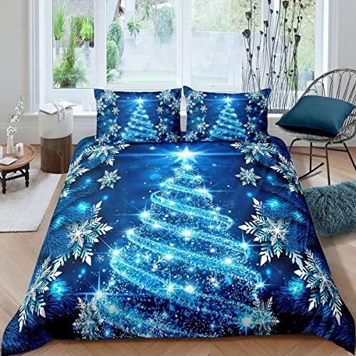 Feelyou Girls Christmas Tree Duvet Cover Blue Xmas Theme Bedding Set Chic Winter Snowflake Comforter Cover for Girls Daughter Bedroom Decor Girly Glitter Bedspread Cover King Size 3Pcs