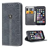iPhone 6 Wallet Case, iPhone 6S Case Wallet, iDoer Premium Leather Wallet Case Slim Flip Cover with Kickstand and ID Card Holder, Magnetic Closure for iPhone 6 iPhone 6S Gray